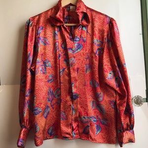 VINTAGE Red Silky Feather Long Sleeve Button Down